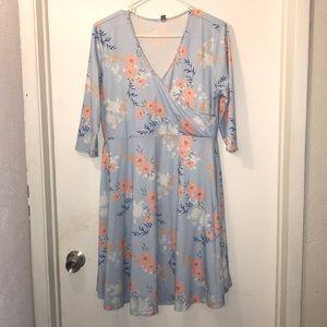ASOS Blue floral skater dress